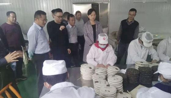 桑植县县长赵云海陪同雨花区区长刘素月视察湘丰桑植白茶